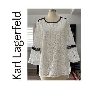Karl Lagerfeld Lace white bell sleeve NWT